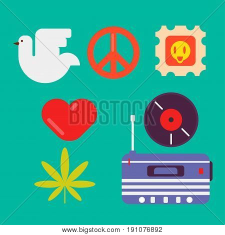 Hippie symbols of peace colorful collection isolated vector illustration in flat design. White dove, red heart, tree leaf, round disk, tape recorder, post stamp and traditional sign in round shape