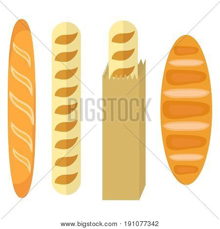 A loaf a loaf in a package bread. Flat design vector illustration vector.