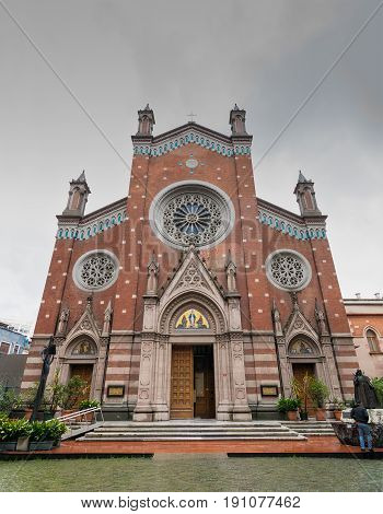Istanbul, Turkey - April 18, 2017: Facade of St. Anthony of Padua Church the largest Roman Catholic Church in Istanbul Turkey