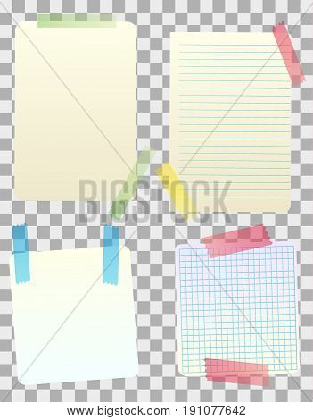 Vector blank paper notes attached with colored sticky tape. Isolated objects on transparent background