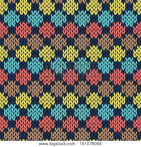 Knitting Seamless Patchwork Color Pattern