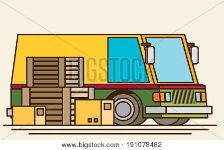 Unloading or loading trucks. Shipping cargo delivery export or import transportation and logistic flat vector illustration