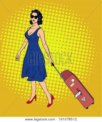 Vector young woman in summer dress and sunglasses holding travel suitcase. Pop art retro comic style illustration. Halftone bakground. Travel concept.