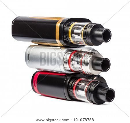 electronic cigarettes collection isolated on white.