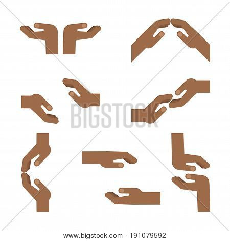 Set of gestures of African American hands express mutual assistance, mutual understanding, support and help, tenderness. Flat vector cartoon hand illustration. Objects isolated on a white background.