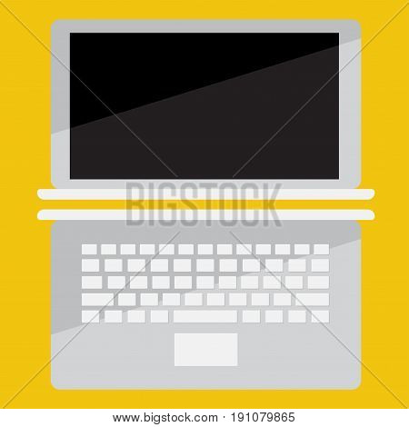 laptop vector flat icon on colored background, front view and top view, - Isometric Vector