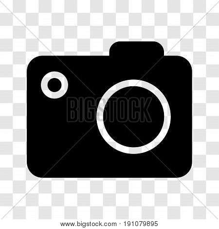 Camera icon, iconic symbol on transparency grid.  Vector Iconic Design.