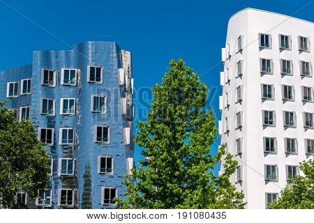 Closeup view of Frank Gehry's famous modern buildings at Neuer Zollhof in Dusseldorf, Germany.