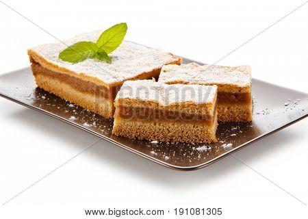 Apple-pie on white background