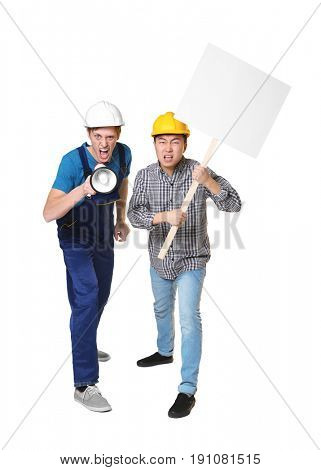 Two protesting young men on light background