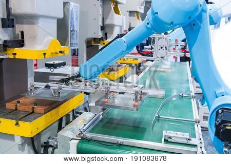 robotic hand machine tool at industrial manufacture factory