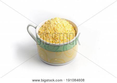 Corn Semolina Into A Cup