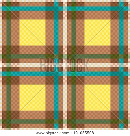 Seamless Checkered Pattern In Yellow And Brown