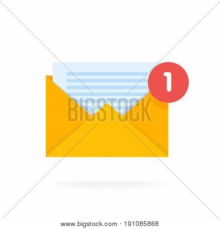 Mail envelope icon with documents. Email send concept vector illustration.