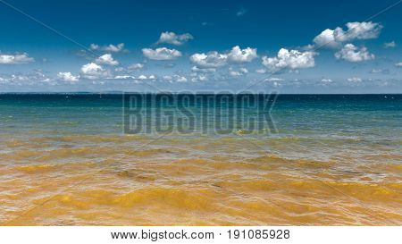 Beautiful Sea With Blue Sky On Sunny Day Background
