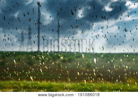 Abstract Image Of Dirty Rain Drops On Glass Environmental Pollution Problems Ecology Concept