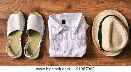 Sandals Of Man With Hat And Summer Shirt