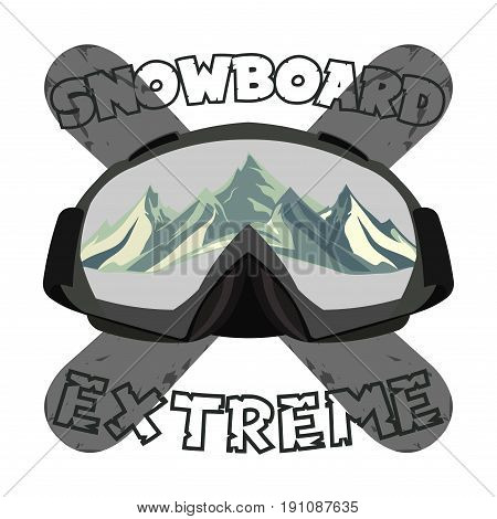 Snowboarding goggles extreme logo and template. Winter sports snowboard shop icon. Mountain Adventure signs vector design