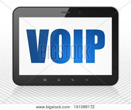 Web design concept: Tablet Pc Computer with blue text VOIP on display, 3D rendering