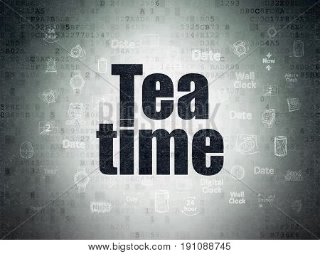 Timeline concept: Painted black text Tea Time on Digital Data Paper background with  Hand Drawing Time Icons