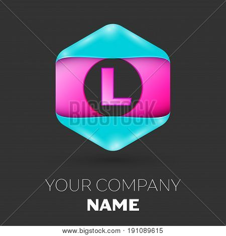 Realistic Letter L vector logo symbol in the colorful hexagonal on black background. Vector template for your design