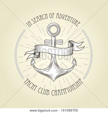 Vintage seafaring emblem - anchor and wavy banner