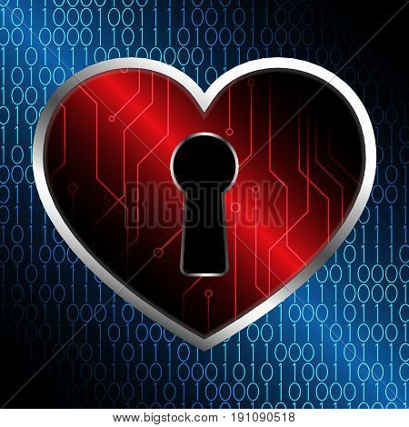 Technology Cyber Security Keyhole Love Heart