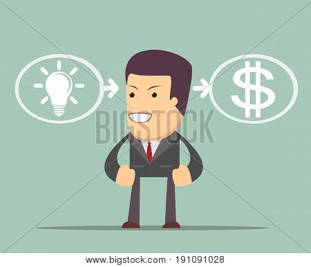 A concept of consulting services- where ideas are equal to money. Stock vector illustration for poster, greeting card, website, ad, business presentation, advertisement design.
