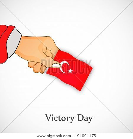 illustration of a hand holding turkey flag with Victory Day text on the occasion of Turkey independence day