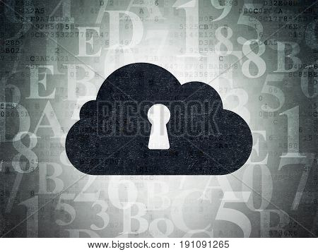 Cloud computing concept: Painted black Cloud With Keyhole icon on Digital Data Paper background with  Hexadecimal Code