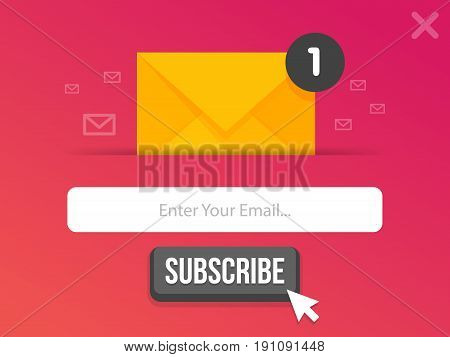 Modern pop-up subscribe form for your website and blog. Vector illustration template.