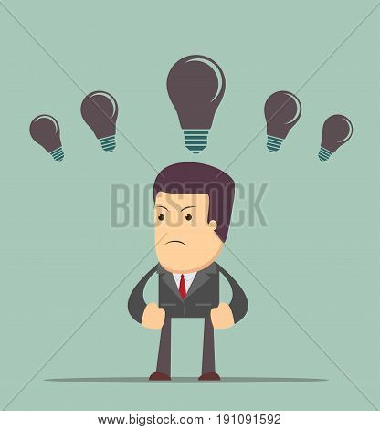 Business concept no ideas lamps . Stock vector illustration for poster, greeting card, website, ad, business presentation, advertisement design.