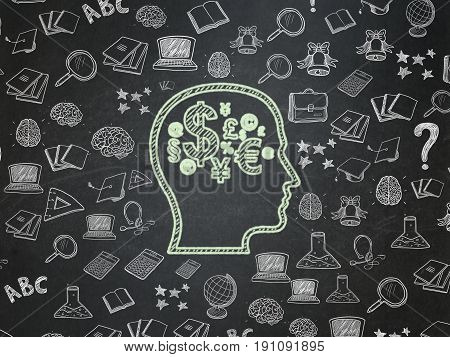 Education concept: Chalk Green Head With Finance Symbol icon on School board background with  Hand Drawn Education Icons, School Board