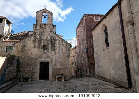 KORCULA, CROATIA - NOVEMBER 09: The Saint Peter church in the old town of Korcula, Dalmatia, Croatia on November 09, 2016.