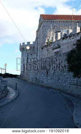 KORCULA, CROATIA - NOVEMBER 09: One of the towers in the ancient city wall of the historic city Korcula at the island Korcula in Croatia on November 09, 2016.