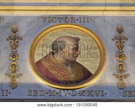ROME, ITALY - SEPTEMBER 05: Pope Victor III, born Dauferio, was Pope from 24 May 1086 to his death in 1087, basilica of Saint Paul Outside the Walls, Rome, Italy on September 05, 2016.