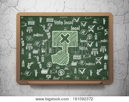 Political concept: Chalk Green Protest icon on School board background with  Hand Drawn Politics Icons, 3D Rendering