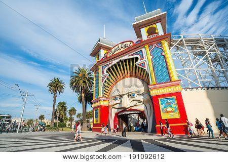 Melbourne, AUSTRALIA - OCTOBER 03 2015: Luna park the iconic amusement park of Melbourne, Australia.