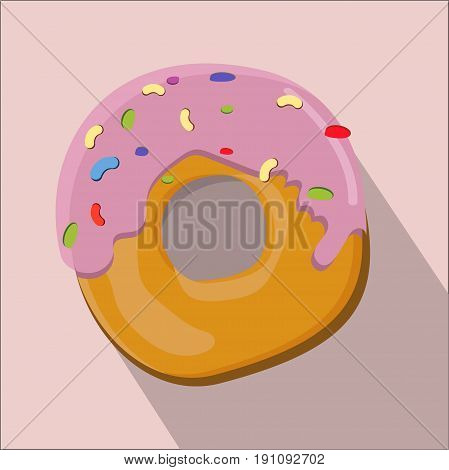 donut isolated flat style, donut icon isolated on background, donut on a light Background, vector illustration.