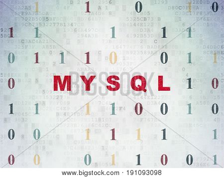Programming concept: Painted red text MySQL on Digital Data Paper background with Binary Code