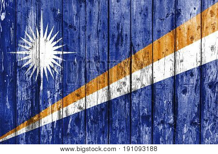 Flag of Marshall Islands painted on wooden frame