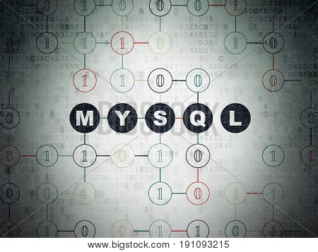 Software concept: Painted black text MySQL on Digital Data Paper background with Binary Code