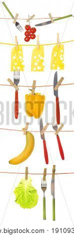 Different food products and cutlery hanging from clotheslines on white background