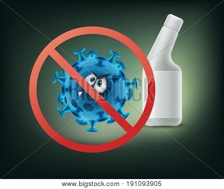 Stop prohibit sign on bacterium close up front view isolated on white background