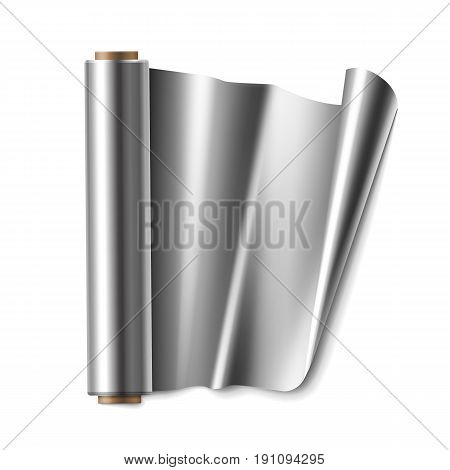 Vector roll of aluminium foil close up top view isolated on white background