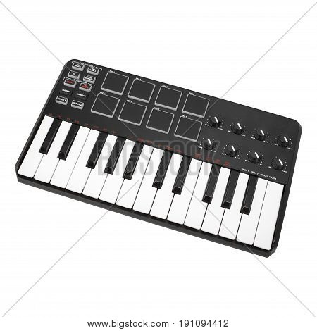 Musical instrument - Sloseup MIDI piano keyboard. It is isolated on a white background