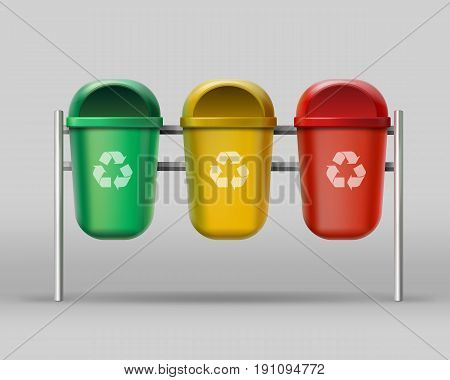 Vector set of red, yellow, green recycle bins for glass, plastic, paper wastes