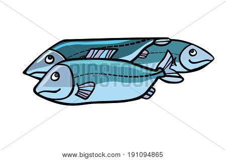 Fish food illustration. Sea and river animals. Comic cartoon style pop art retro vector color drawing