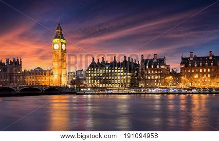 Big Ben and the City of Westminster in London after sunset