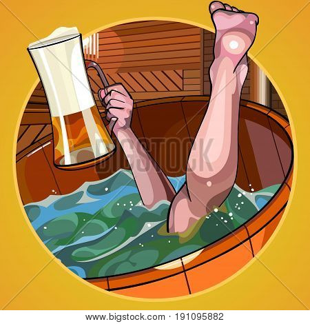 cartoon man with a beer in hand dives into the bath